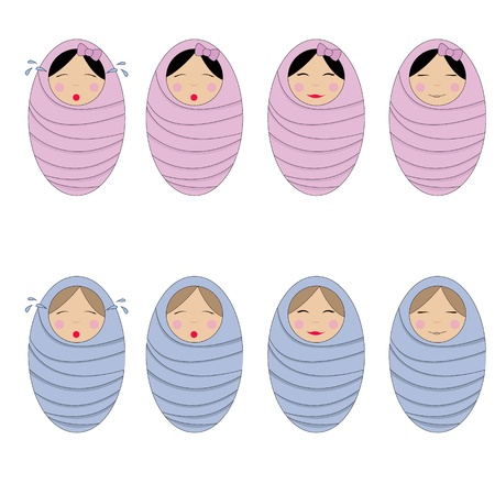 vector  set of girls and boys infants
