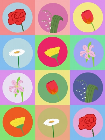 vector seamless pattern with cartoon flowers Stock Vector - 16425958