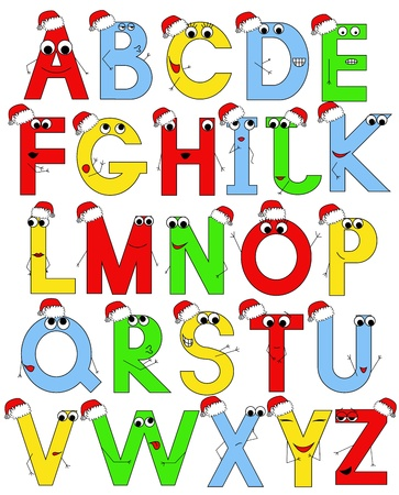 vector funny latin alphabet in santa caps Vector