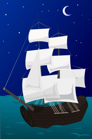sheathing: vector illustration of a ship in the sea