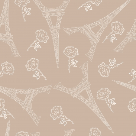 vector seamless brown pattern with eiffel tower