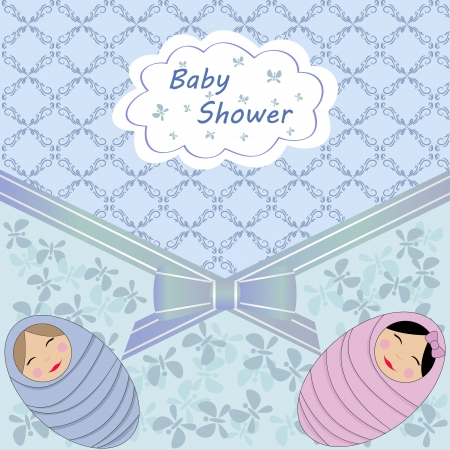 vector card baby shower blue twin Vector