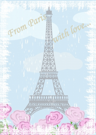 illustration of Grunge Eiffel tower with roses Vector