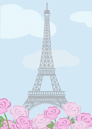 illustration of Eiffel tower with roses Illustration