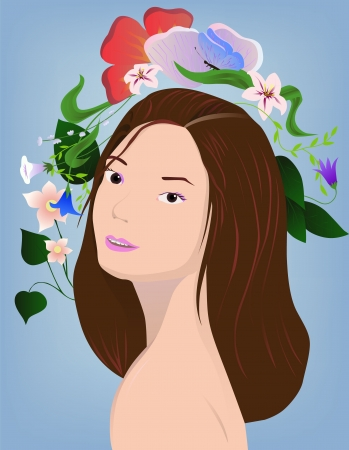 illustration of brunette with flowers on blue Stock Illustration - 16637370