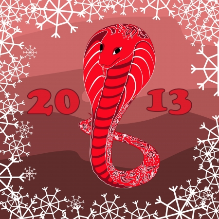 red snake with floral pattern with snow Stock Vector - 16637407