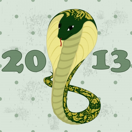 green snake with floral pattern Vector