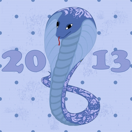 blue snake with floral patetrn grunge Vector