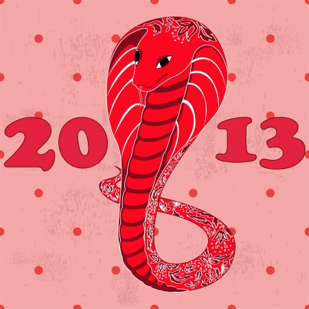 red snake with floral pattern grunge Stock Vector - 16637411