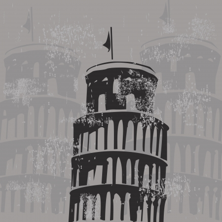 Learning tower of Pisa grunge Vector