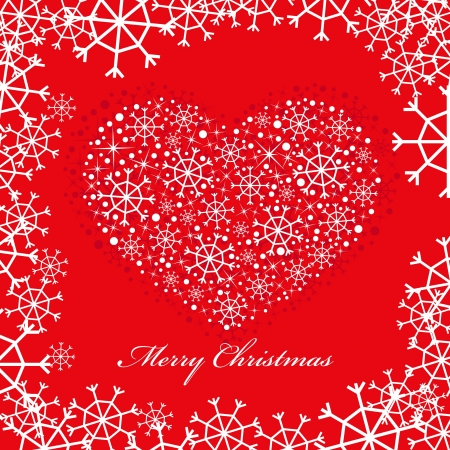 red christmas background with heart Vector