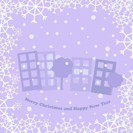 christmas card with town Stock Vector - 16670101