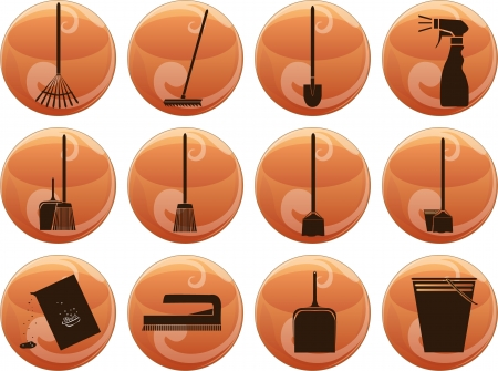 vector set of cleaning icons on buttons Vector