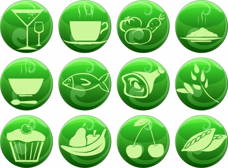 set of food icons on buttons Illustration