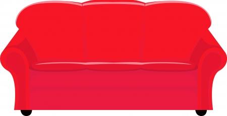 red couch: illustrazione del divano rosso