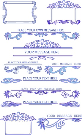 blue calligraphic design elements Vector