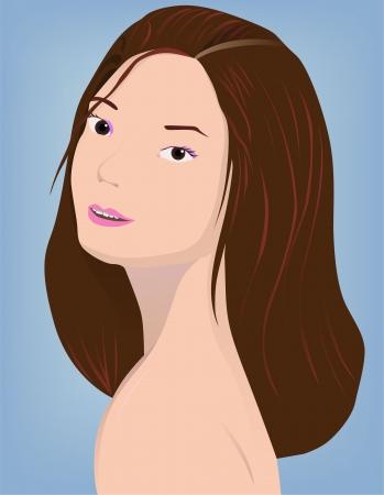 illustration of brunette on blue Stock Vector - 16935682