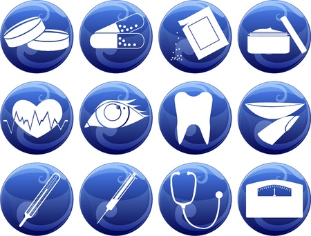 medical icons of button Stock Vector - 16954192