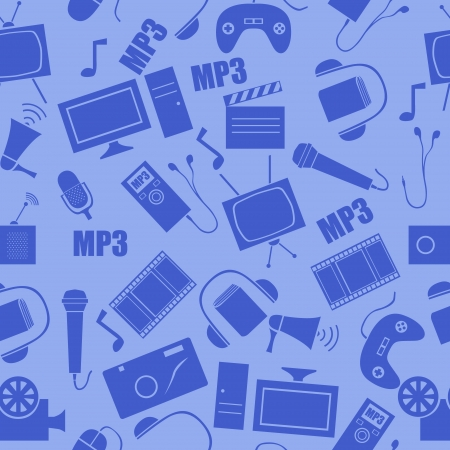 tv unit: media seamless pattern