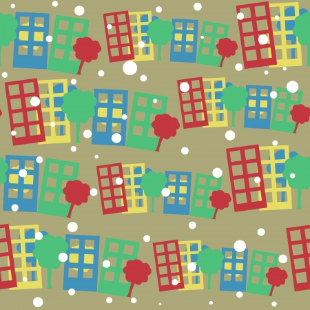 seamless pattern with cartoon town Stock Vector - 17242828