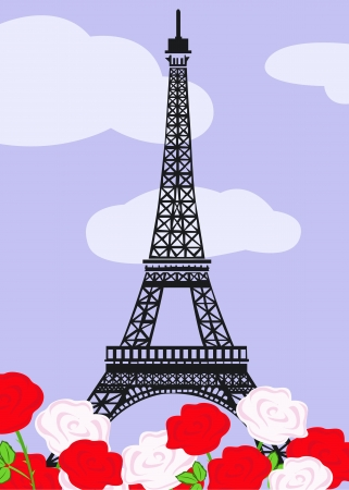 Eiffel tower with red and white roses Vector