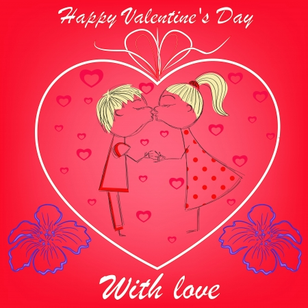 boy and girl in heart with flowers on red Stock Vector - 17492216