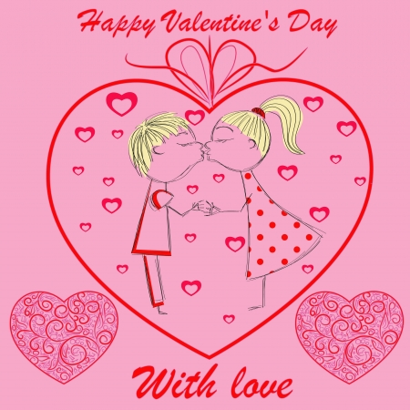 boy and girl in heart Stock Vector - 17492215