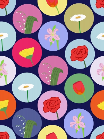 vector seamless pattern with cartoon flowers Vector