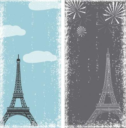 grunge banners with eiffel tower Illustration