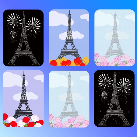 set of cards with eiffel tower Vector