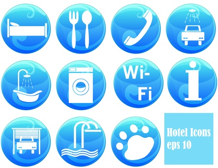 hotel icons on buttons Illustration