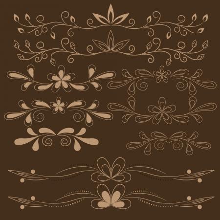 set of brown floral design elements Stock Vector - 18254808