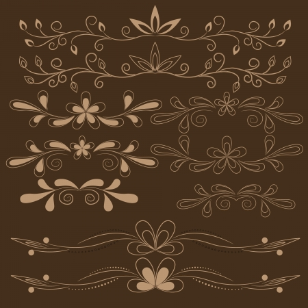 set of brown floral design elements Stock Vector - 18254808