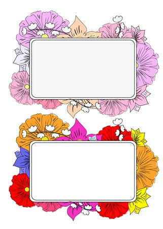 orange gerbera: banners with hand drawing flowers Illustration