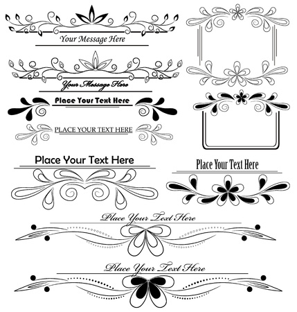 set of floral calligraphic design elements