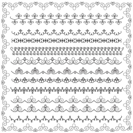 set of black and white lace border