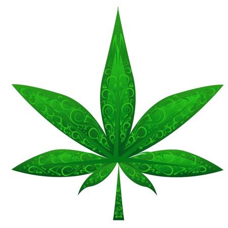 glass marijuana leaf