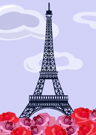 Eiffel tower with retro roses Vector