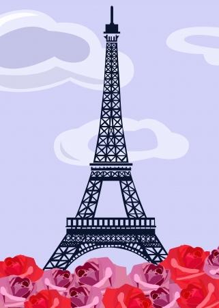 paris vintage: Torre Eiffel con retro rosas