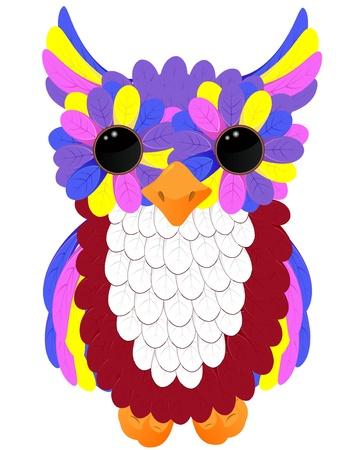 owlet: vector colorido owlet Vectores