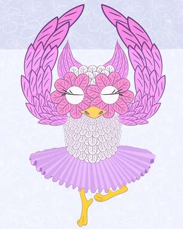 vector illustration of owl ballerina Vector