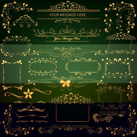 set of golden design elements photo