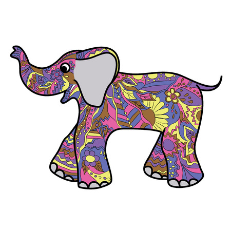 Vector hend drawing childish colorful elephant Vector