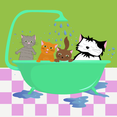 vector illustration of Cats in bath Vector