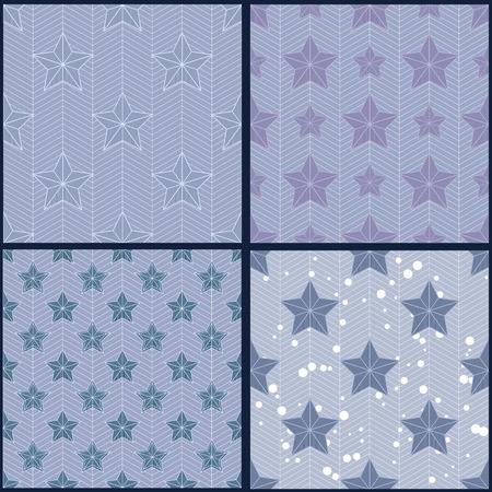estrella azul: Conjunto de patrones de estrellas azules Vectores