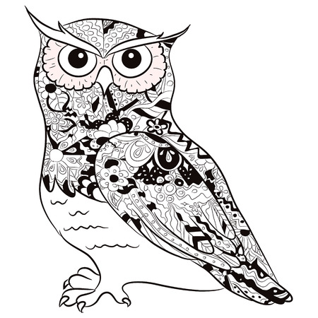 black-and-white owl Vector