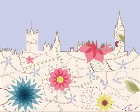 westminster abbey: London vintage silouette