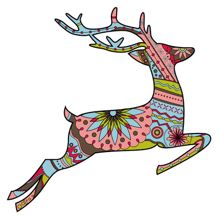 Jumping deer in Christmas colors Vector