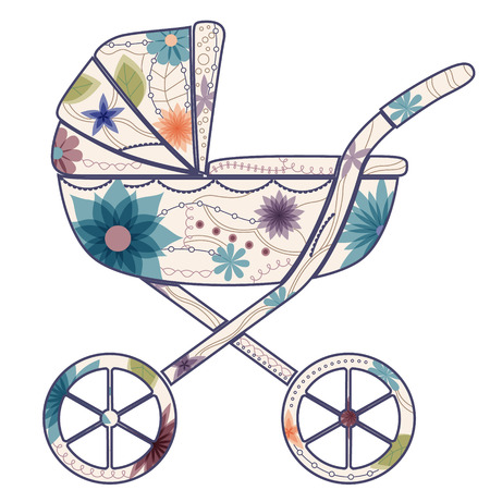 Baby carriage for boy Vector