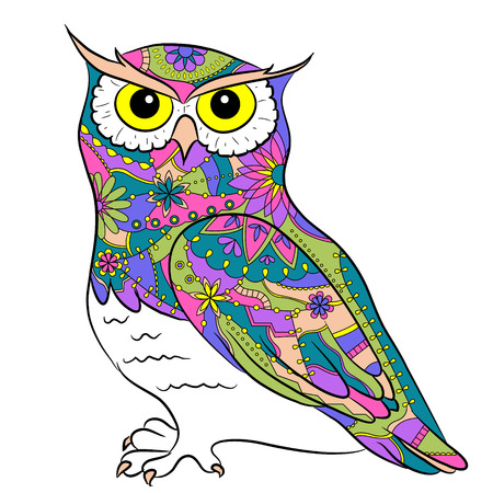 Colorful painted owl